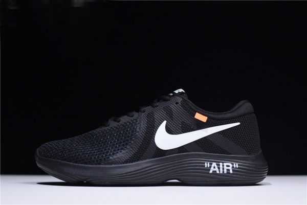 "Off-White x Nike Revolution 4 ""Black"" Mens and WMNS Size Running Shoes 908988-011"