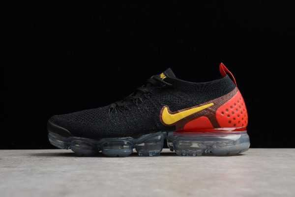 "Men's Nike Air Vapormax Flyknit 2.0 ""Laser Orange"" Black/Laser Orange-Total Crimson 942842-005"