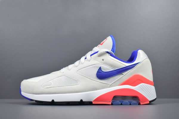 "Mens and WMNS Nike Air Max 180 OG ""Ultramarine"" White/Ultramarine-Solar Red 615287-100"