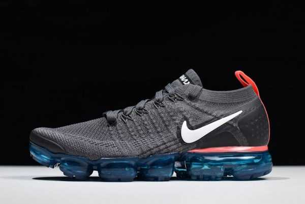 Nike Air VaporMax Flyknit 2.0 Thunder Grey/White-Bright Crimson For Sale