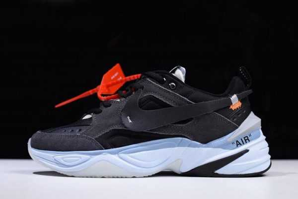 2018 Mens and Womens Off-White x Nike M2K Tekno Black/Grey-Light Blue